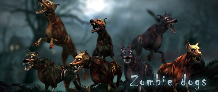zombie dogs monsters animated lowpoly 3d models pack horror game beast