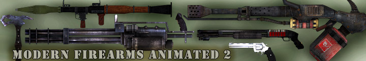 modern firearms animated 3d weapons pack, flame thrower, shotgun, magnum, rpg, minigun