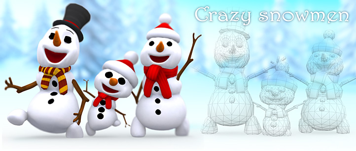 crazy_snowmen_dancing_3d_animated_lowpol