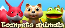 toonpets animals 3d lowpoly models pack, fox, frog, cat, dog, dolphin